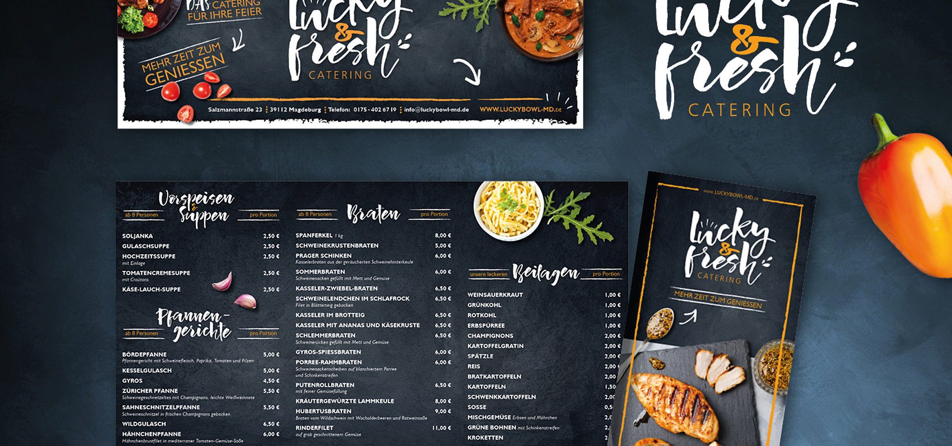 Grafikdesign: Corporate Design, Banner und Flyer für Lucky & Fresh Catering